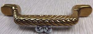 "NEW Belwith Heavy Antique Brass Ornate Zig Zag 4 5/8"" Cabinet Drawer Pull Screws"