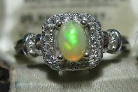 Beautiful STERLING SILVER Real Fire OPAL Gem Stone Art Deco Revival RING O 7