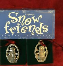 Longaberger Snow Friends Pewter Christmas Tree Ornaments 72800 Snowball Flurry