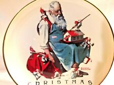 Collectable Norman Rockwell Christmas Plate Santa's Helpers 1998 Gold Trim