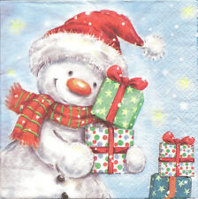 4 Single Table Paper Napkins for Decoupage Snowman with His Gifts Christmas