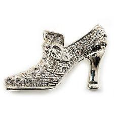 Silver Tone Diamante Shoe Brooch