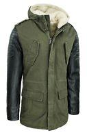 Cappotto Parka uomo invernale slim fit verde militare giacca con cappuccio