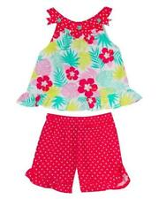 """NEW Rare Editions Girls """"CORAL TROPICAL FLORAL"""" Size 5 Top Shorts Set NWT"""