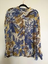 DUE Per DUE Sheer Top Button Down long Sleeves Chinese Collar 100% SILK Size 16