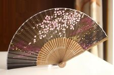 Chinese Japanese Folding Hand Bamboo Pocket Fan Blossom Flower Deep Green Brown