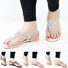 LADIES WOMEN FLAT DIAMANTE TOE POST DRESSY HEELS PARTY SUMMER BEACH SANDALS SIZE