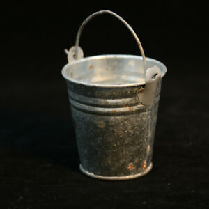 Small Galvanized Steel Metal Tin Can or Bucket Succulent Pot or Candle Holder