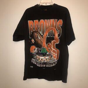 Vintage Cleveland Browns NFL T-Shirt Black Unisex Cotton Reprint Digital TK4268