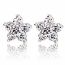 Fashion Jewelry 14K White Gold Plate Silver Clear Crystal Flower Stud Earrings