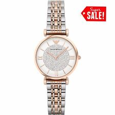 NEW GENUINE EMPORIO ARMANI AR1926 TWO TONE GIANNI T-BAR LADIES WATCH UK STOCK