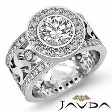 Halo Pre-Set Round Diamond Engagement Ring GIA H Color VS1 18k White Gold 2.8ct