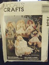 """McCalls Craft 7534 Heirloom Bunnies, Dress, Bonnet & Bloomers Pattern - 20"""" Tall"""