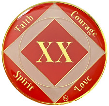 NA 20 Year Red Coin, Gold Color Plated Medallion, Narcotics Anonymous Medallion
