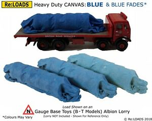 BLUE 'Canvas' Tarped Covered Sheeted Road & Rail Loads for Z, N or Small HO OO