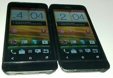 Lot of 2 HTC One V 4GB Black Virgin Mobile Android Smartphone Small Cracks