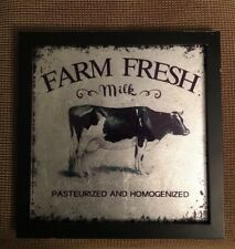 Farm Fresh Milk Cow picture Country Farmhouse Primitive Wood 12� New Framed Art