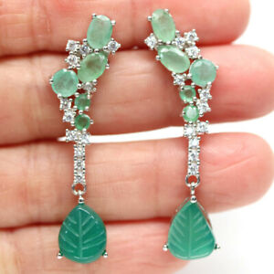 NATURAL GREEN AGATE, EMERALD & CZ 925 STERLING SILVER EARRINGS