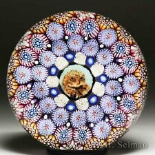 Mike Hunter 2016 owl murrina and complex concentric millefiori glass paperweight