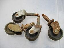 Old Castors Furniture Trolley Wheels Metal & Black Plastic x4 set Retro