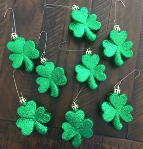 St. Patrick's Day Shamrock Ornaments - Glitter - Lot of 8