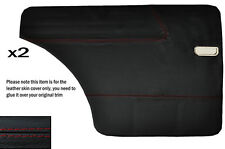RED STITCH 2X REAR DOOR CARD LEATHER SKIN COVERS FITS FORD 100E