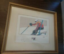VINTAGE 1980 WINTER OLYMPICS SLALOM SKIING STAMP SIGNED PAINTING PICTURE