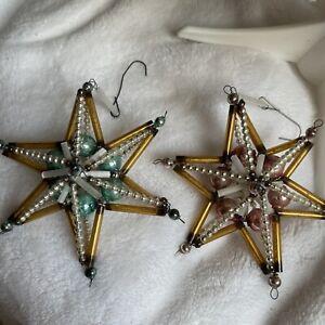 Two vintage mercury glass beaded star Christmas Ornaments