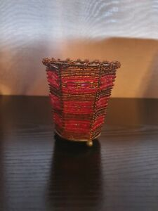 Partylite Burgundy Beaded Tea Light Holder, Pre Owned, In Good Cond.