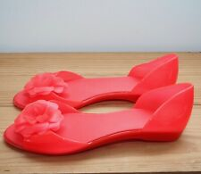 Mel shoes size 5 / 38 orange flower plastic peep toe slip on sandals