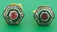 Victorian Look 925 Silver Stud Earring 1.10cts Rose Cut Diamond Ruby Antique