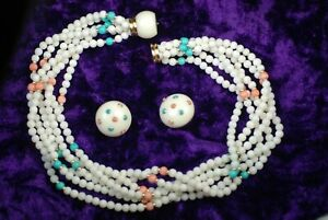 """Vintage Trianon 14K Yellow Gold Pearl, Coral, Turquoise Earrings & 14"""" Necklace"""