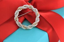 Limited Tiffany & Co Sterling Silver & 18k Yellow Gold Rope Circle Wreath Brooch