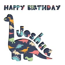 Personalised Dinosaur Birthday Card with cut out dinosaur / lettering