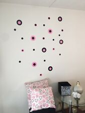 Pink Black Circle Decal Sticker Baby Nursery Kids Room Wall Decal Home Decor