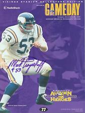 Minnesota Vikings Chicago Bears Program 11/25/01..Autographed by Mick Tingelhoff