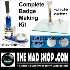 1 1/2 inch Button Badge Maker Machine Press +250 Pin Buttons Cutter Complete Set