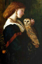 Hand painted Oil painting Valentine Cameron Prinsep girl & The Barn Owl The Owl