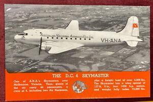 1940s ANA DC4 SKYMASTER AEROPLANE PHOTO POSTCARD AUSTRALIAN NATIONAL AIRWAYS NM!