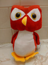 RED PLUSH HOOTER OWL NINE INCHES HIGH