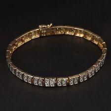 "Sterling Silver - 6mm Diamond Accent Link 7.5"" Gold Tennis Bracelet - 12.5g"