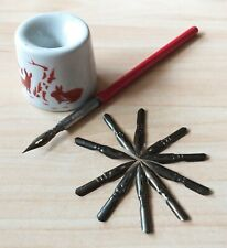 Student Set USSR Ink Dip Calligraphy Fountain Pen Nibs 11 pcs Porcelain Inkwell