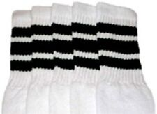 "19"" MID CALF WHITE tube socks with BLACK stripes style 1 (19-46)"