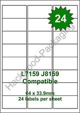 24 Labels per Sheet x 5 Sheets L7159 / J8159 White Matt Copier Inkjet Laser