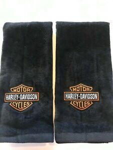 Hand Towel  Harley-Davidson Motor Cycles  Logo Black Color Towel Set of 2