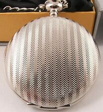 LOOOK! Silver Plated Pocket Watch 12Mth Wty + Chain KP4