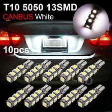 10 x White Canbus Error Free 13-SMD 5050 T10 LED Light Bulbs 2825 168 192 W5W