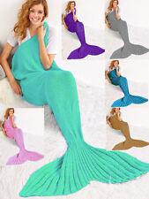 💎 Mermaid Tail Blanket Handmade 💎  Knit Crocheted Sofa  Quilt Lapghan Rug 💎