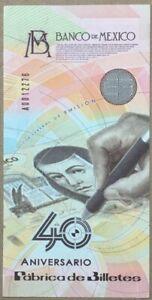 Mexico 2009. Especimen Commemorative 40 Anniversary Banknotes Factory. AUNC