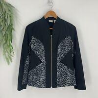 Zenergy by Chicos Jacket Womens Size 0 S Black Gray Zip Up Leopard Print Stretch